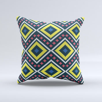 Gold & Black Vector Plaid Ink-Fuzed Decorative Throw Pillow