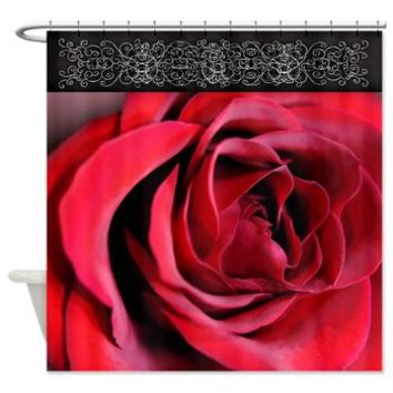 Open Red Rose Shower Curtain> Shower Curtains> Bloomingvinedesign's Cafe Press Shop