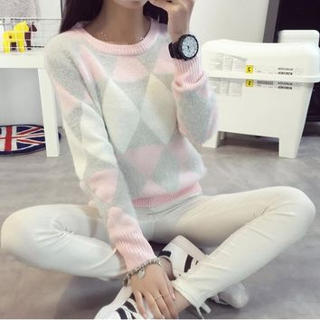 Casual O-Neck Sweaters Female Ponchos And Capes Long Sleeve Geometric Pullovers Tracksuit For Women Christmas Sweater kazak E022
