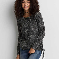 AEO Marled Lace-Up Sweater , Gray