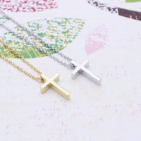 Small Cute Cross necklace in  silver or gold tone