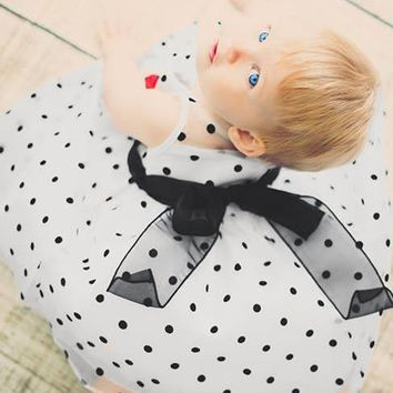White Satin & Black Polka Dot Crystal Organza Occasion Dress (Baby Girls Newborn - 24 months)