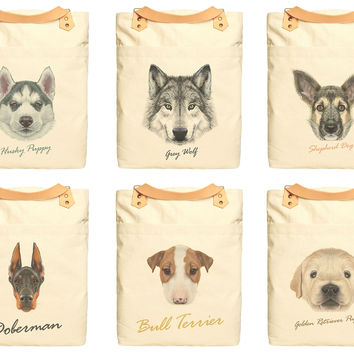 Unisex Dog Portraits Print Cotton Canvas Leather Strap Laptop Backpack WAS_34