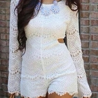 White Long Sleeve Cut Out Lace Romper