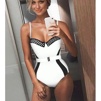 Summer Beach Popular Women Sexy Color Matching One Piece Bikini Swimsuit White