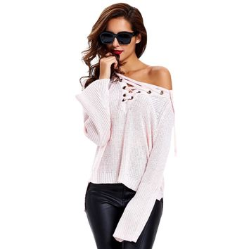 Criss-Cross Bell Sleeves Irregular Knitwear