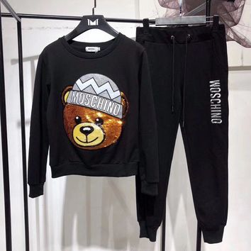 Moschino Women Casual Fashion Cute Letter Embroidery Sequin Cartoon Bear Long Sleeve Trousers Set Two-Piece Sportswear