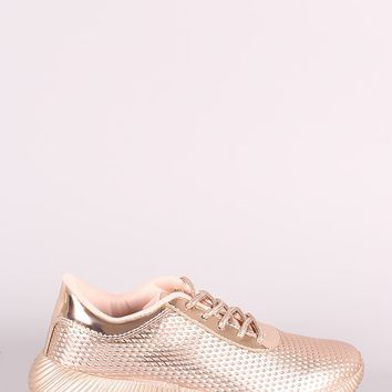 Qupid Textured Metallic Lace Up Sneakers