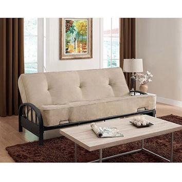 Convertible Small Space Dorm Room Sleeper Sofa Futon with Innerspring Full Mattress