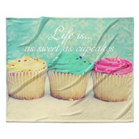 "Beth Engel ""Life Is As Sweet As Cupcakes"" Green Fleece Throw Blanket"