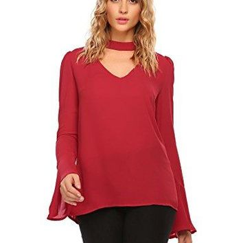Zeagoo Womens Casual Chiffon Choker Cut Out V Neck Long Bell Sleeve Blouses Tops