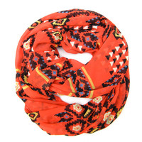 Tribal Scarf Geometric Scarf Double Loop Scarf Boho Scarves Endless Loop Scarf Tangerine Brown Circle Scarf Fun Women Teens Fashion Scarves