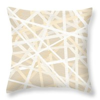 "Cream And Tan Art Throw Pillow 14"" x 14"""