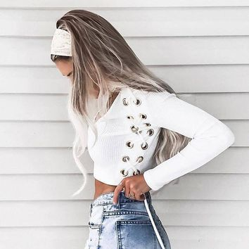 Sexy V Neck eyelet Lace Up Women Knitted Shirts Crop Blouse Shirt Long Sleeve Top