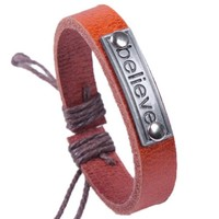 Handmade Genuine Leather Wrap Bracelet with Believe Charm