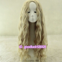 Free shipping 75cm Long  Wavy Curly Anime Cosplay Wig no bang + a wig cap
