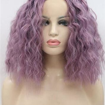 Lavender Purple Wet Curly Bob Synthetic Lace Front Wig