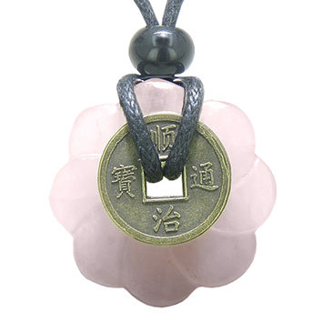 Lucky Coin Celtic Lotus Flower Amulet Love Power Rose Quartz 30mm Donut Pendant Necklace