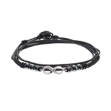 All Wrapped Up Hematite & Crystal Sterling Silver Infinity Link Wrap Bracelet (Black)