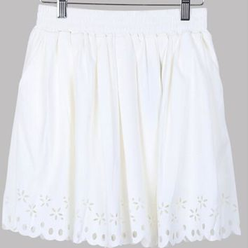 Hot New Ladies Pleated Skirt Women 2016 High Waisted Skater Skirts Short Pleated Fashion Navy White for Women Hole Hollow out