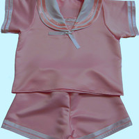 Cosy n Dry - Pink Satin Sailor Suit - Order Code Dr 09 - Adult Baby Clothing, Adult Babywear, Ageplay Products and Much More