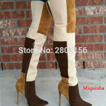 Pointed Toe Thigh High Boots Patchwork Over The Knee Boots Fashion Bota Feminina Sexy High heel Shoes Woman