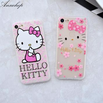 All protective Flamins ilicone case For iphone 6 6s plus 7 8 Plus cover soft Hello kitty for iphone X 6 carcasa capa coque funda