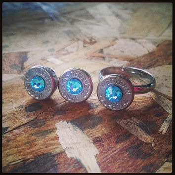 Simplistic Bullet Ring and Earrings Gift Set - Light Blue