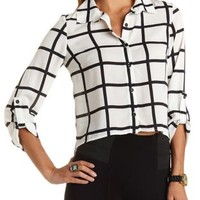 Cropped Square Print Button-Up Top by Charlotte Russe
