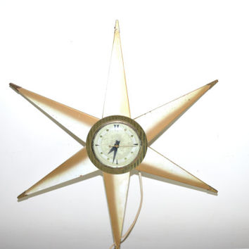 Mid Century Star Clock Starburst Clock Gold and White Clock Mid-Century Starburst Clock Atomic Clock Sunburst Clock Danish Minimalist Clock