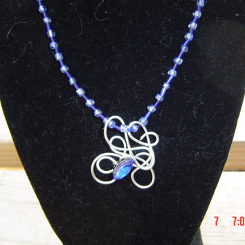 Twisted wire necklace blue crystal seed bead gift woman girl OOAKHanedmade Jewelry