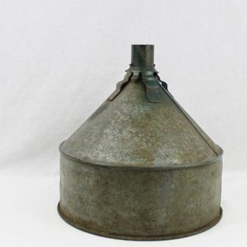 "Vintage Large 10"" Galvanized Tractor Funnel, Ready to be repurpose"