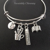 College student, Teacher's theme.... bracelet, Stainless Steel Expandable Bangle, monogram personalized item No.239