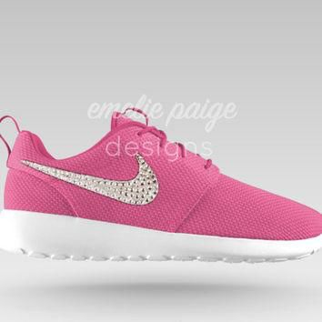 Custom Nike Roshe Run (Pink) running shoes with Swarovski Crystals