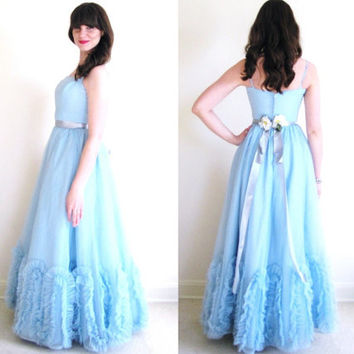 50s Prom Dress / 1950s Prom Dress / 50s Blue Party Dress