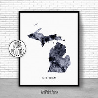 Michigan Art Print Michigan Decor Michigan Print Michigan Map Art Map Artwork Map Print Map Poster Watercolor Map Office Art ArtPrintZone
