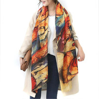 2016 Autumn and winter new style Graffiti imitation cashmere scarf fashion women soft printing all-match shawl