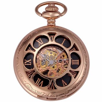 *Classic Rose Gold Steampunk Movement Mechanical Pocket Watch