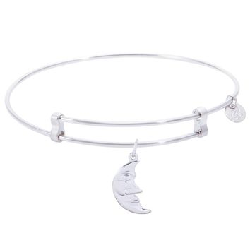 Sterling Silver Confident Bangle Bracelet With Halfmoon Charm