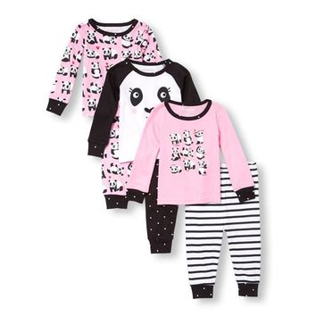 Baby And Toddler Girls Long Sleeve Panda Tops And Printed Pants 6-Piece Snug-Fit PJ Set