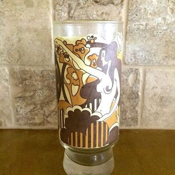 Vintage Hipster Unique Egyptian-Like Drinking Glass