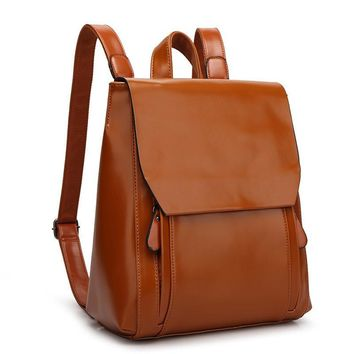Spring New Genuine Leather Women's Backpacks Travel Rucksack Preppy Style Oil Wax Backpack College Students Schoolbags Satchel