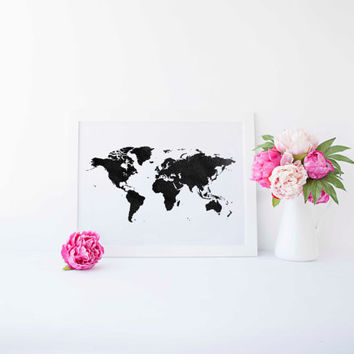 World Map Poster Watercolor Print World Map Art World Map Wanderlust Travel Poster Map of World World Map Digital Watercolor Watercolor Map