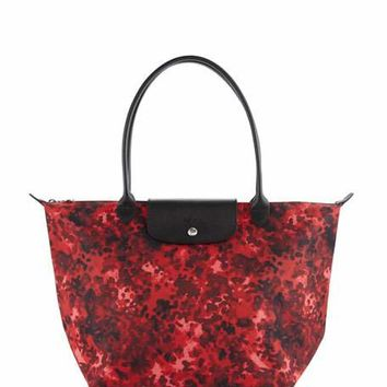 Longchamp Le Pliage Néo Fantaisie Large Printed Tote Bag, Ruby