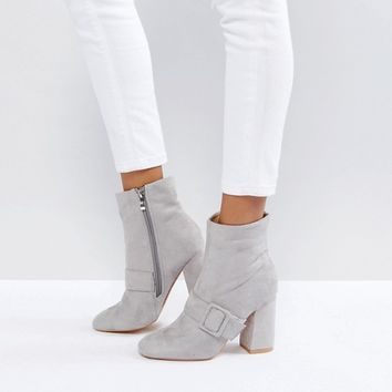Glamorous Gray Buckle Detail Heeled Ankle Boots at asos.com