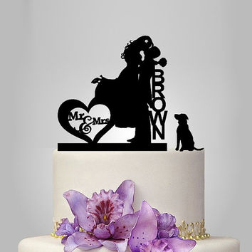 acrylic wedding cake topper, Wedding Cake Topper Silhouette Couple Mr & Mrs personalize Name and dog, funny cake topper, unique cake topper