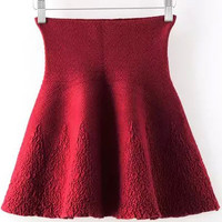 Red High Waisted Jacquard Knitted Mini Skirt