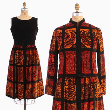 Vintage 60s Oscar De La Renta SET / 1960s Printed Velvet Dress Jacket & Belt ODLR Designer Suit M