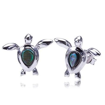 Swimming Turtle Earring Sterling Silver Made Abalone Inlay Post Style