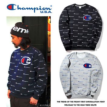 Champion full body printing men and women couples round neck hooded sweater